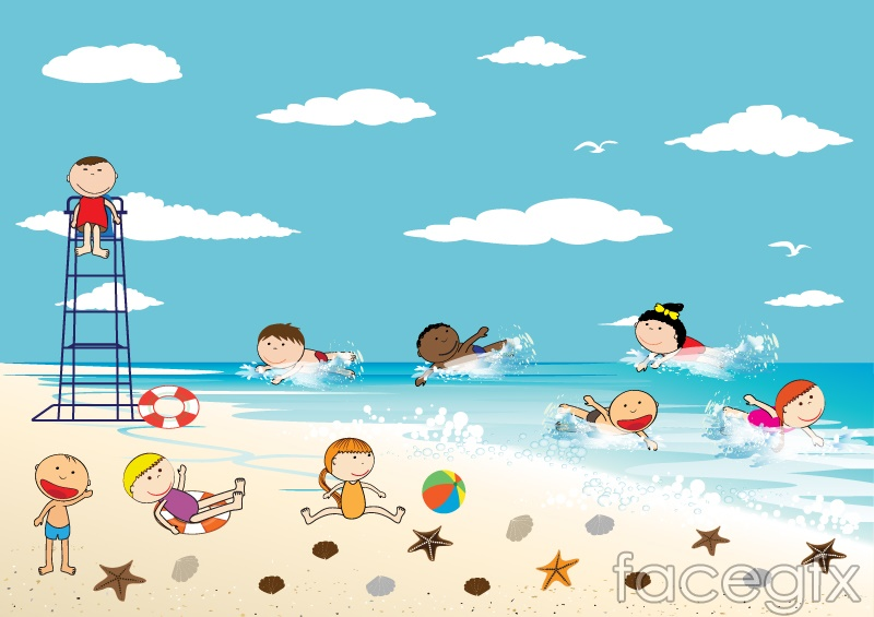 The Children Playing By The Ocean Vector Over Millions