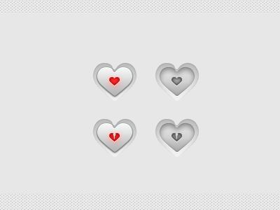 The Heart Buttons PSD