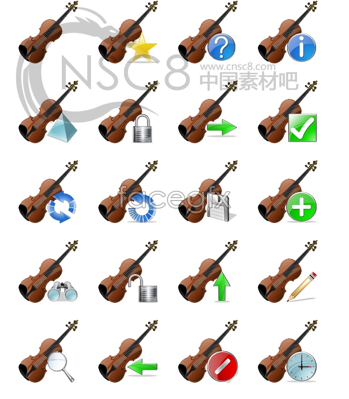 The violin computer icons
