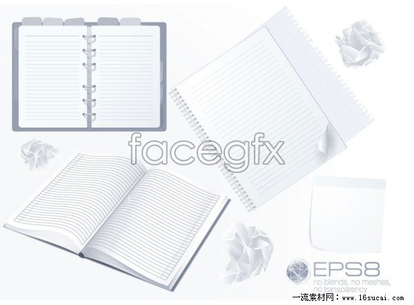 Three blank Notepad vector