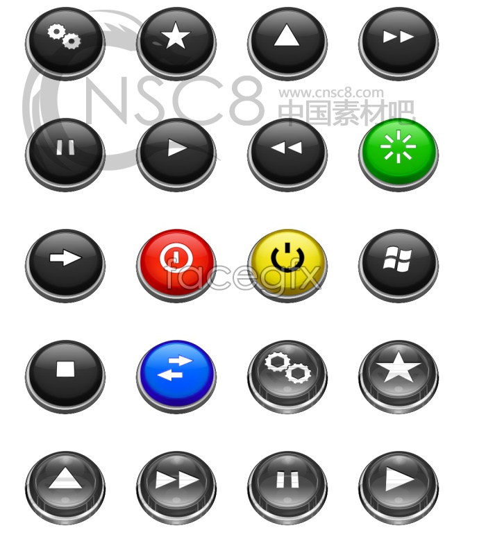 Three dimensional bright button icon
