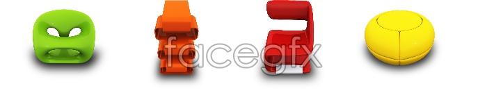 Three dimensional sofa chairs icons