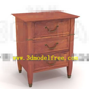Three-drawers wooden bedside cabinet 3D Model