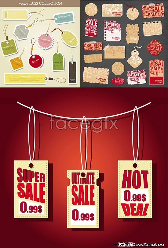 Three for sale hanging card card vector