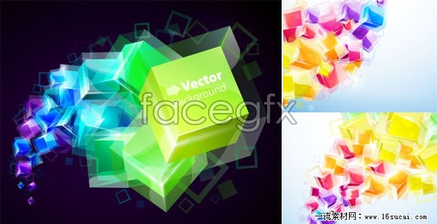 Three gorgeous three-dimensional vector