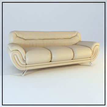 Three people leather sofa model 3D Model