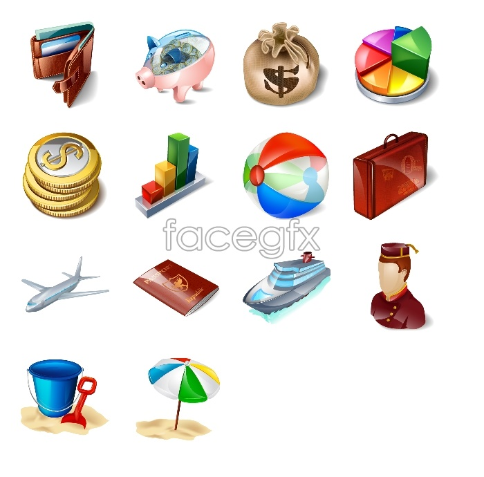 Tourism and travel application icons