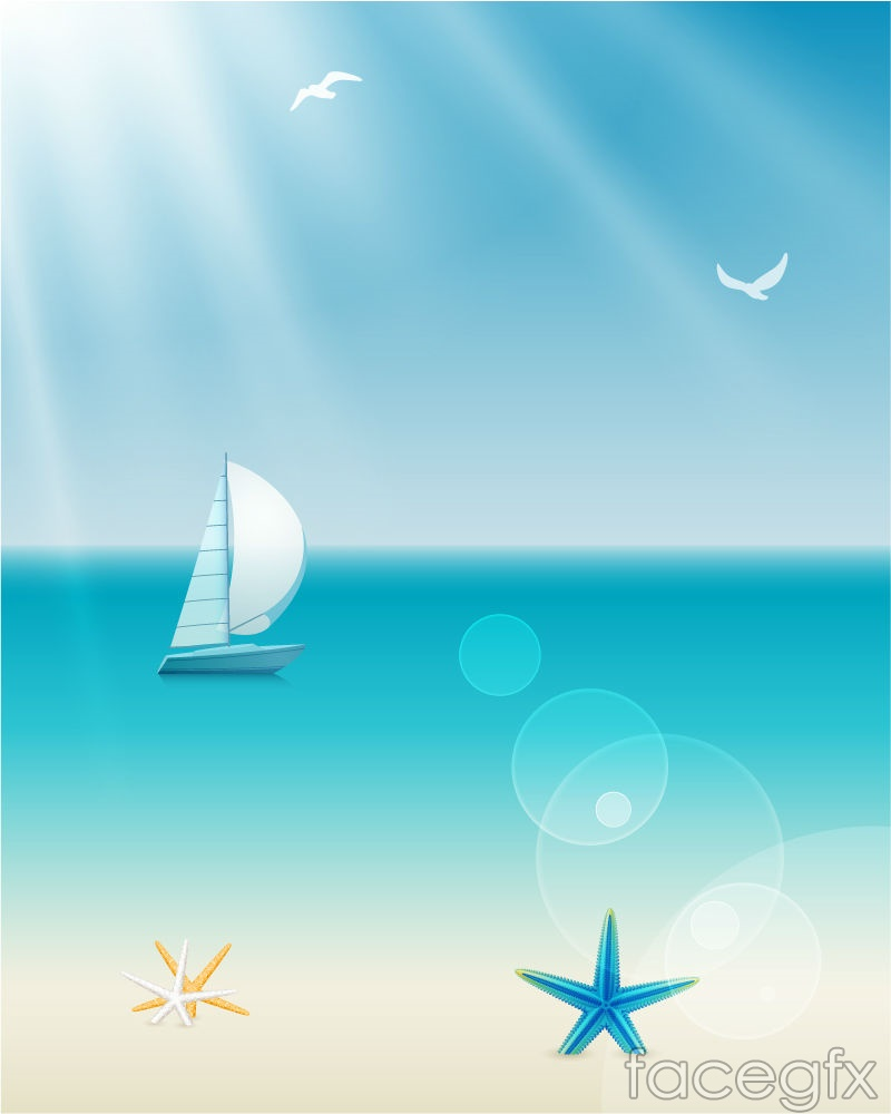 Tranquil ocean sailing background vector