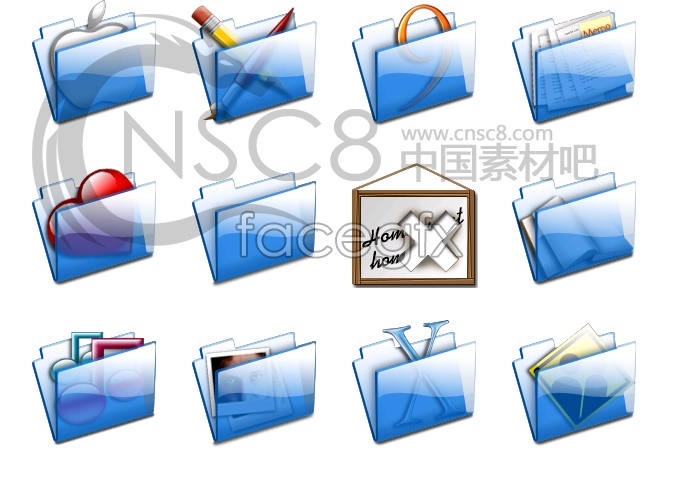 Translucent blue folders