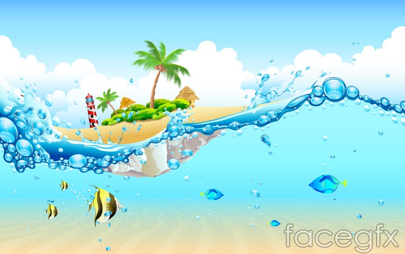 Tropical island cartoon vector illustration
