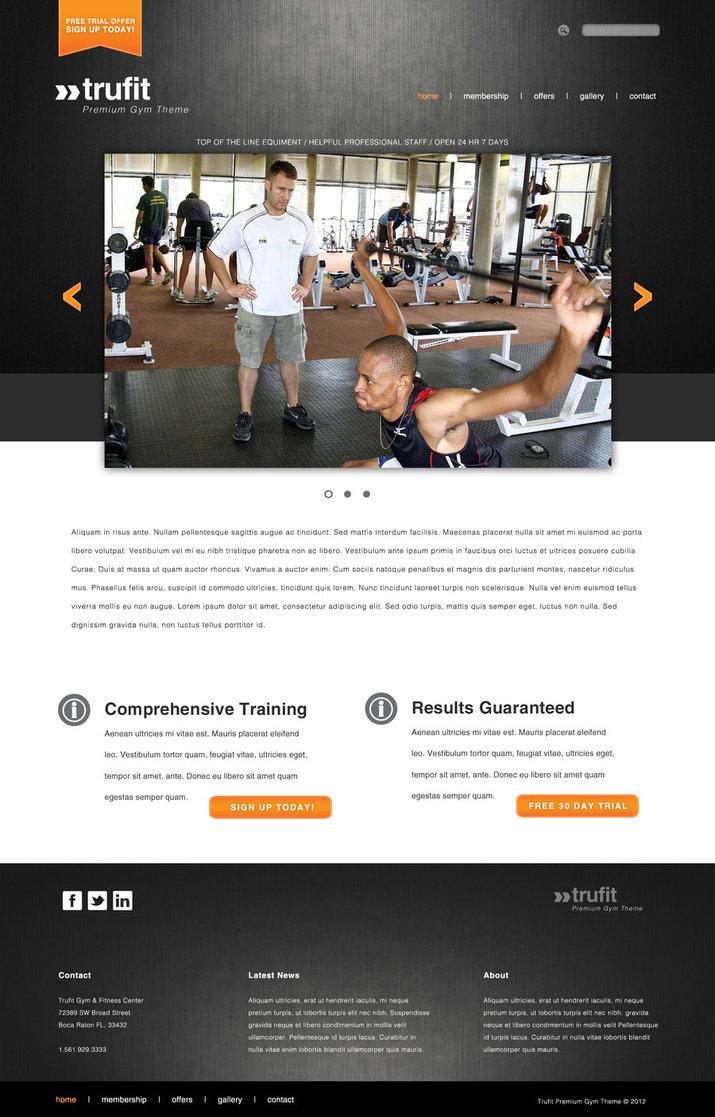 Trufit Premium Gym Theme website layout