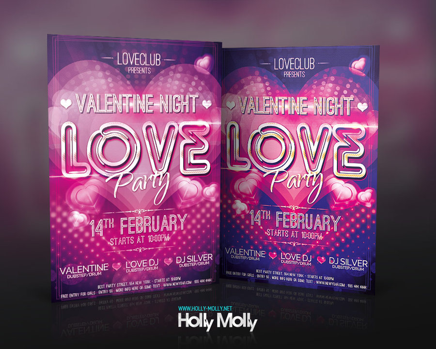 Valentine Night Love Party Flyer Over Millions Vectors