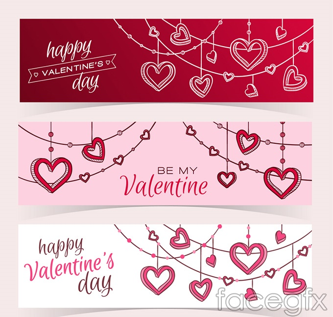 Valentine's Day heart ornaments vector