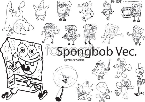 Variety of adorable Spongebob cartoon vector