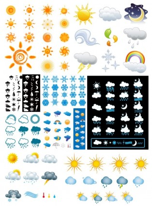 variety of changes in the weather icon vector