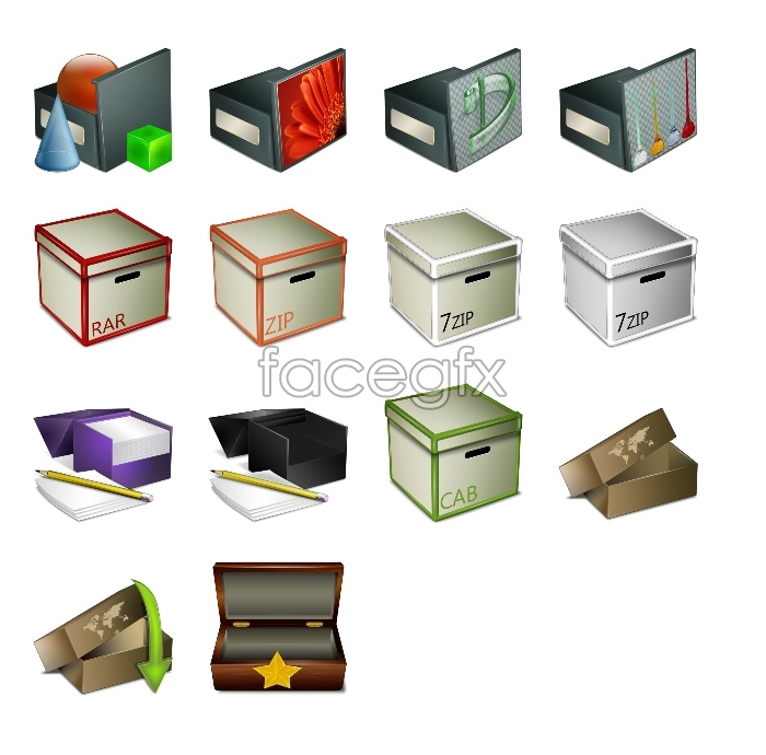 Various packing box icons
