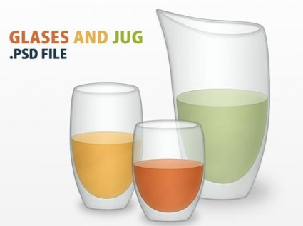 Vector Glasses And Jug PSD File
