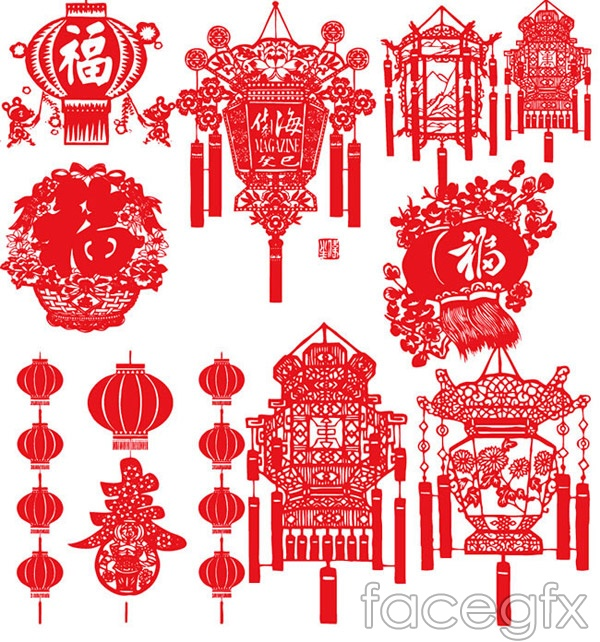 Vector Spring Festival lantern paper cuts