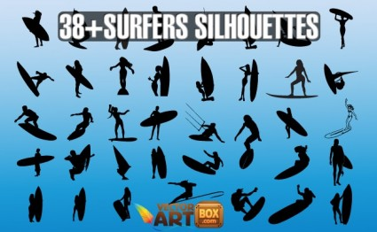 Vector Surfers Silhouettes