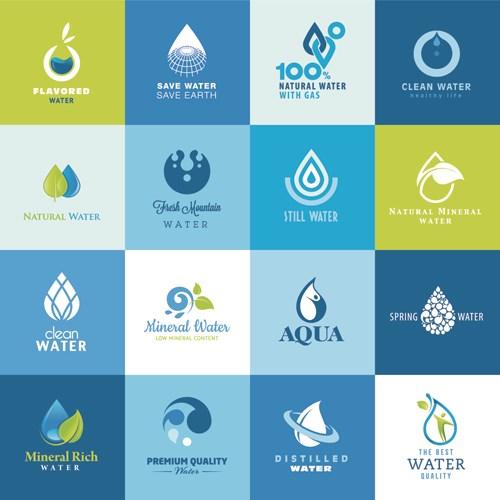 Vector water elements logos set
