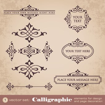 Vintage calligraphic and frame design vector