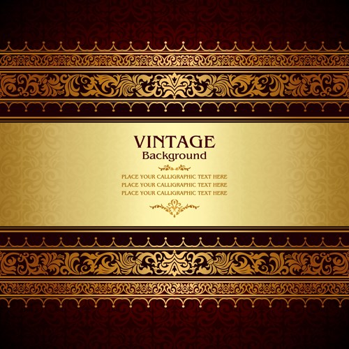 Vintage floral luxury background vectors 02