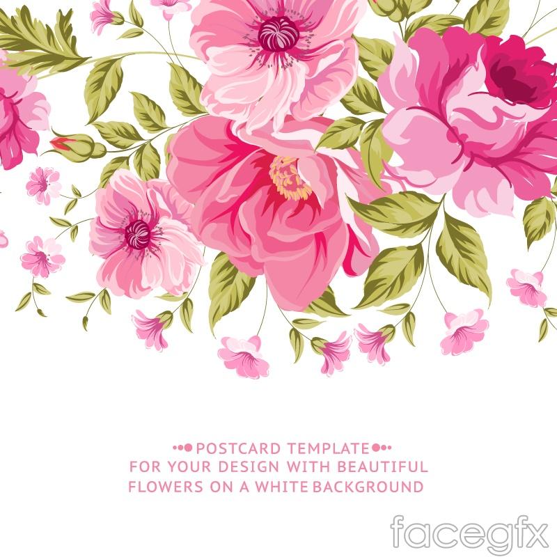 Vintage pink flower cards vector – Over millions vectors ...
