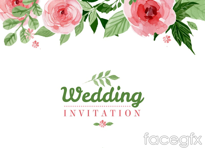 Watercolor Floral Wedding Invitation Poster Vector Graphics Over Millions Vectors Stock