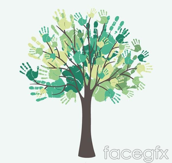 watercolor handprint tree vector over millions vectors stock