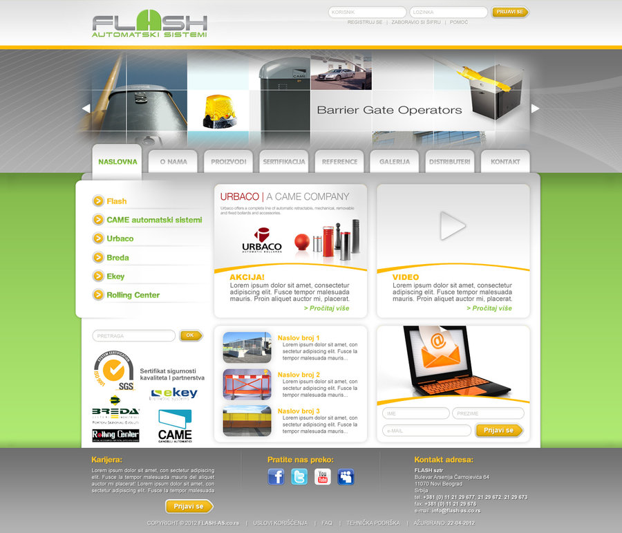 Web presentation PSD layout for a client