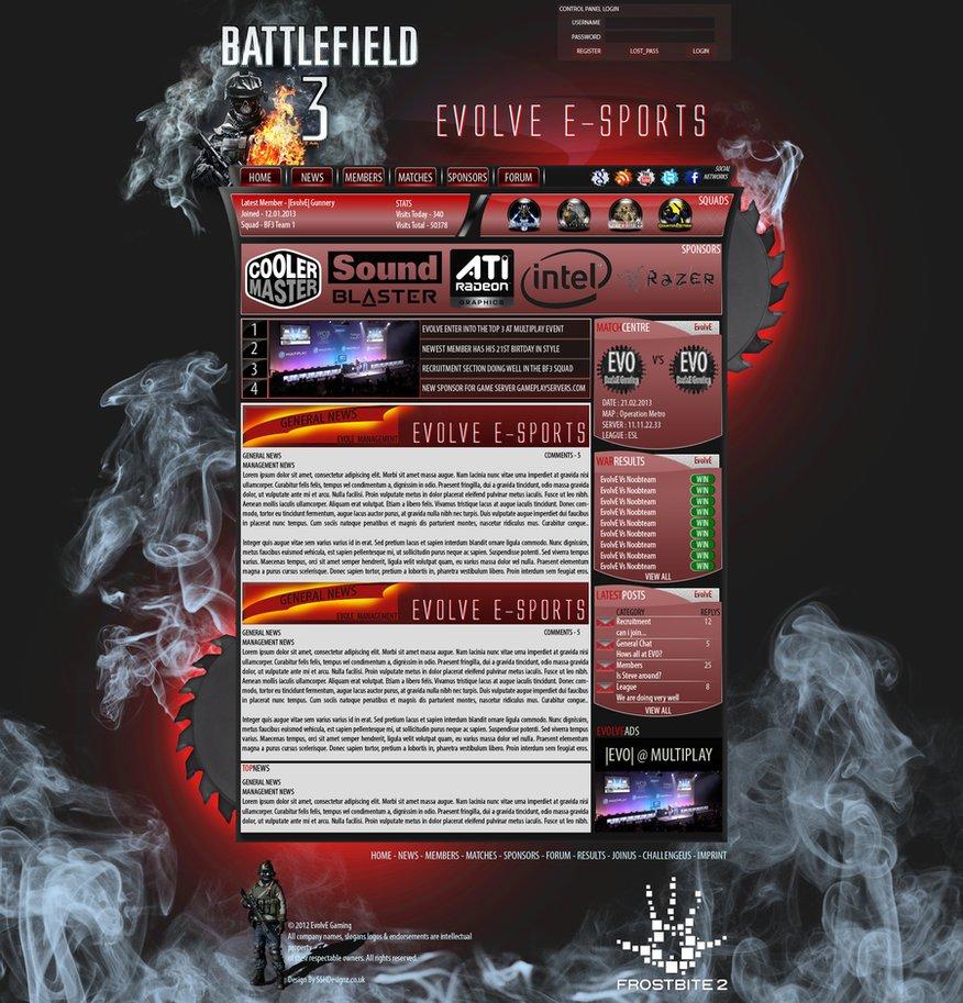 Webspell battlefield 3 template psd – over millions vectors, stock.