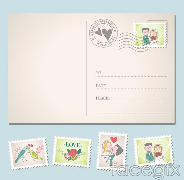 Wedding invitation postcard vector over millions vectors stock wedding invitation postcard vector stopboris Choice Image