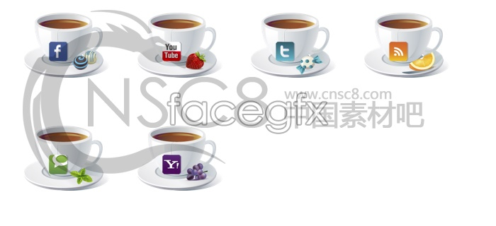White coffee cup icons