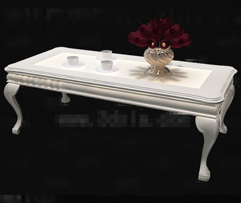 White European style wooden tea table 3D Model
