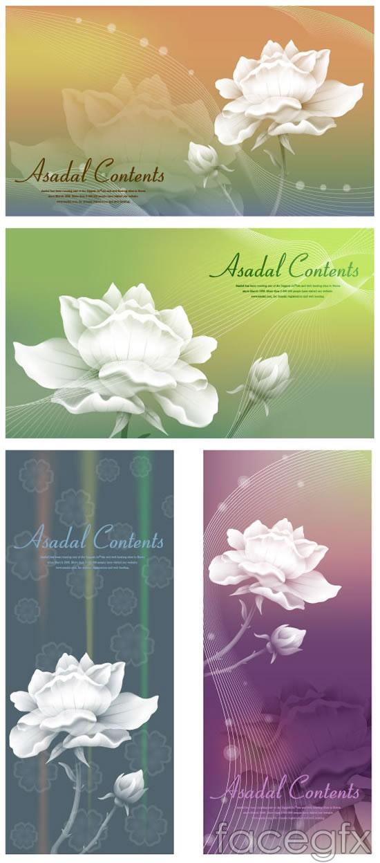 White flower banner vector