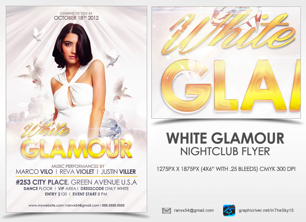White Glamour Flyer Template
