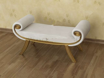 White gold-rimmed sofa bench 3D Model