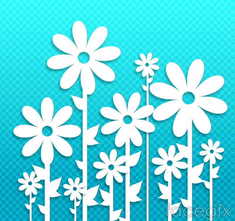 White papery flowers vector