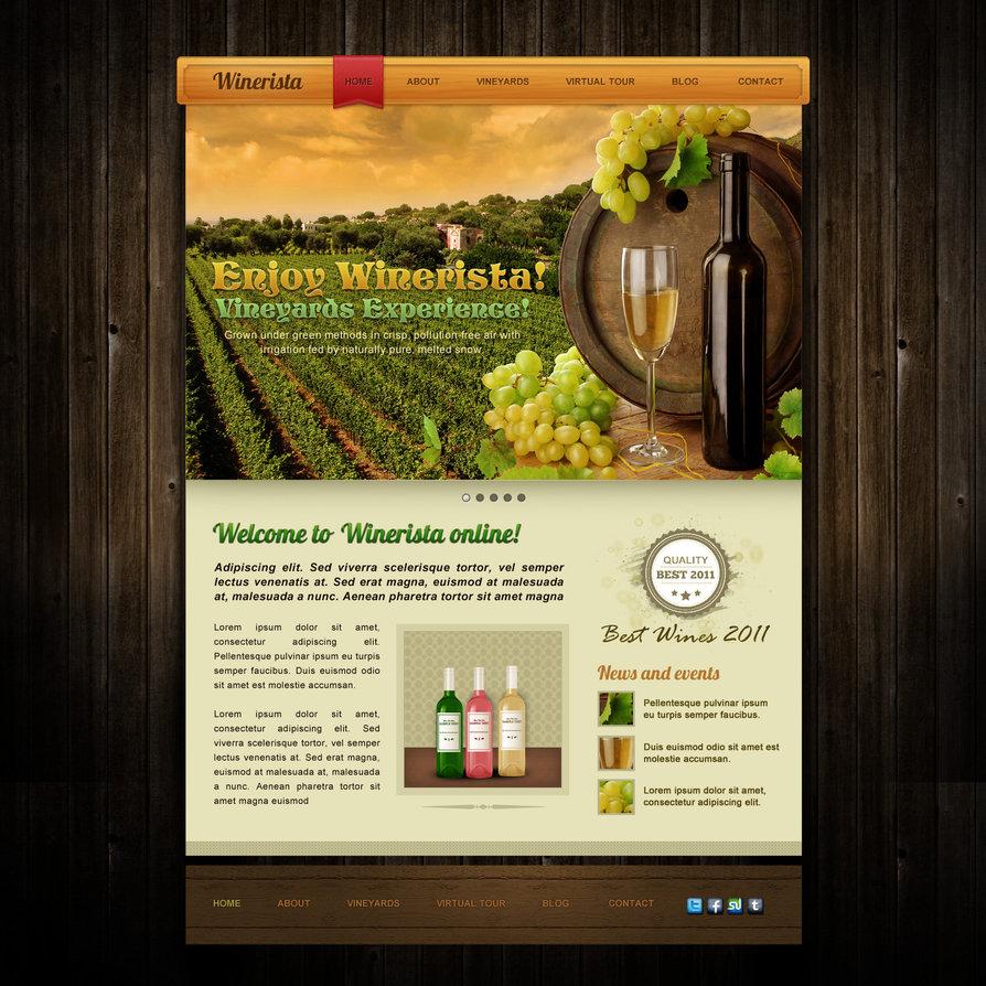 Winerista – winery website PSD template design
