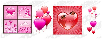 With texture of the heart-shaped elements vector material