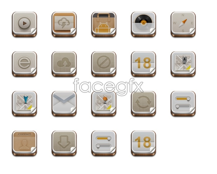 Wood-grain-style mobile icons