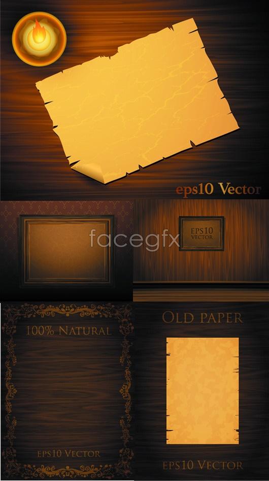 Wood kraft paper photo frame Vector
