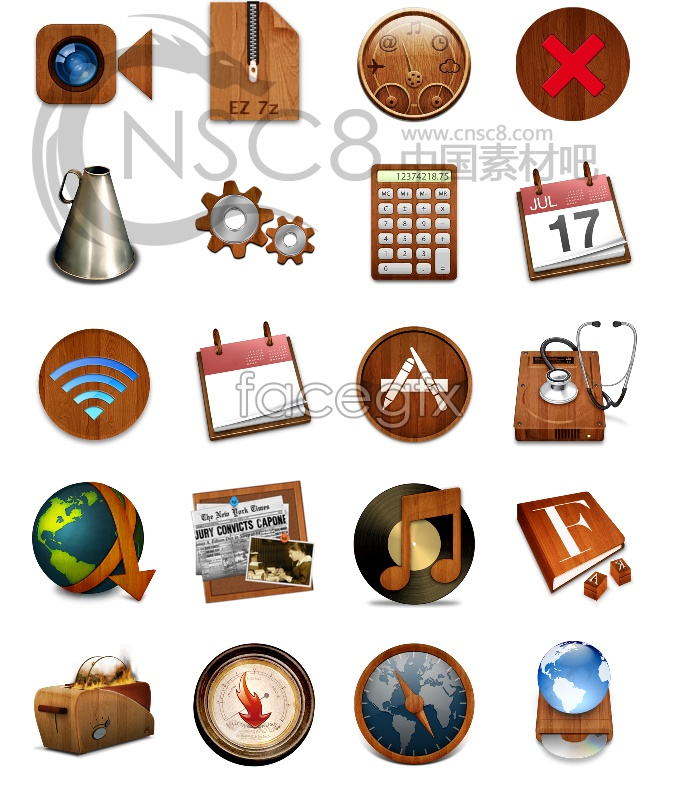Wood style computer system icons