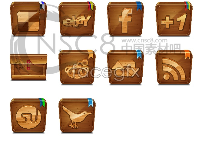 Wood style desktop icons