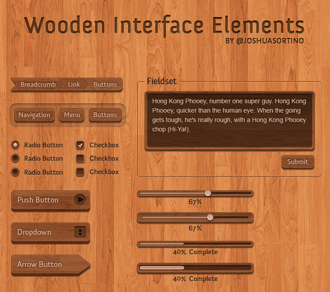 Wooden Interface Elements PSD