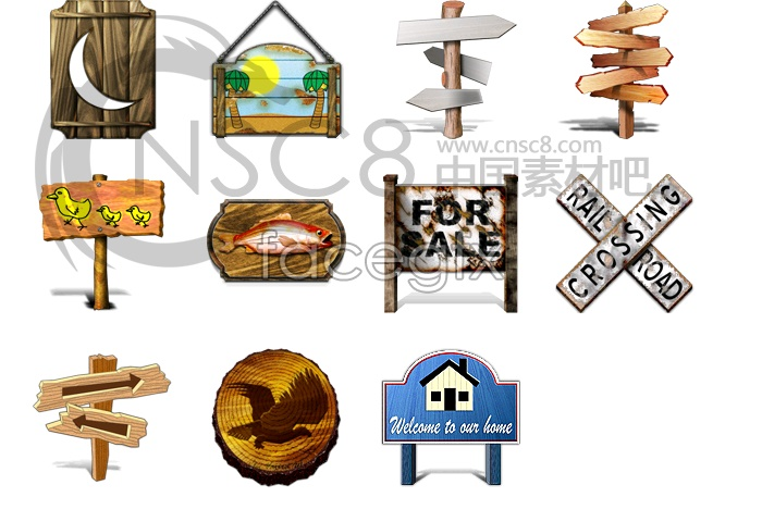 Wooden signage icon series