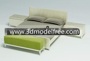 Wooden simple bed combination 3D Model