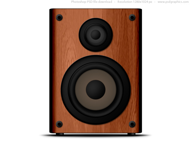 Wooden speaker icon (PSD)