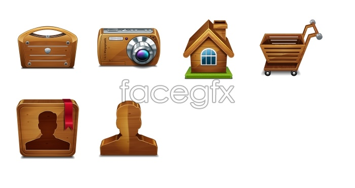 Wooden tool desktop icons