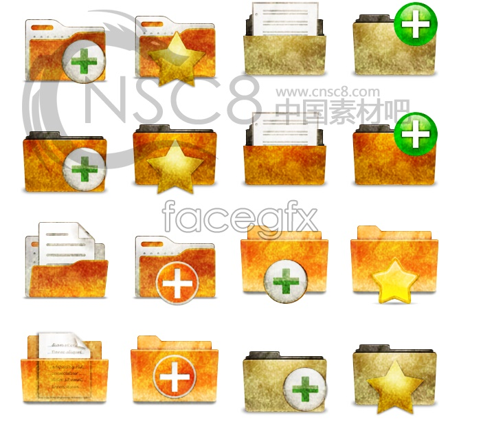 Yellow folders desktop icons